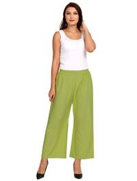 Florence Green Crepe Plain Stitched Palazzo