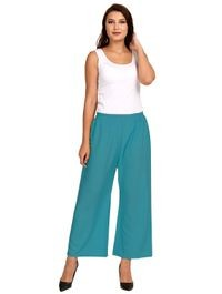 Florence Turquoise Crepe Plain Stitched Palazzo