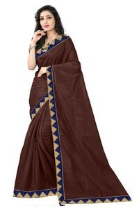 Florence Brown Art Silk Lace Work Saree with Blouse