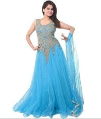 Florence Sky Blue Net Embroidered Semi Stitched Gown
