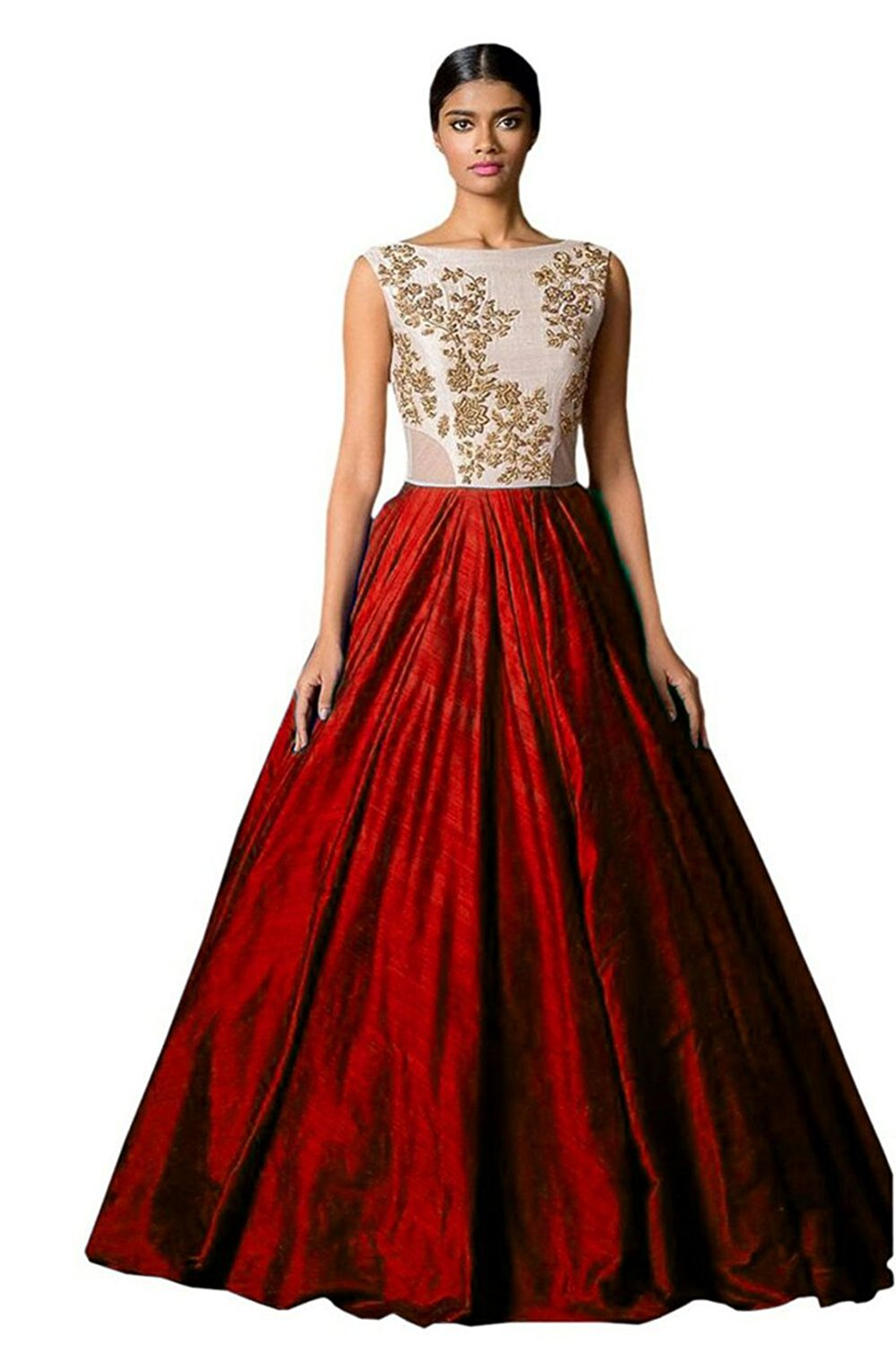 Florence Red Silk Embroidered Semi Stitched Gown