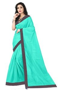 Florence Sea Green Art Silk Lace Work Saree with Blouse