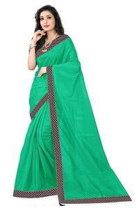 Florence Green Art Silk Lace Work Saree with Blouse