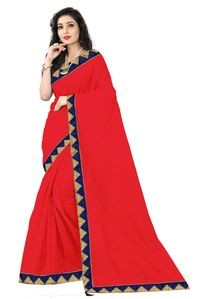 Florence Red Art Silk Lace Work Saree with Blouse