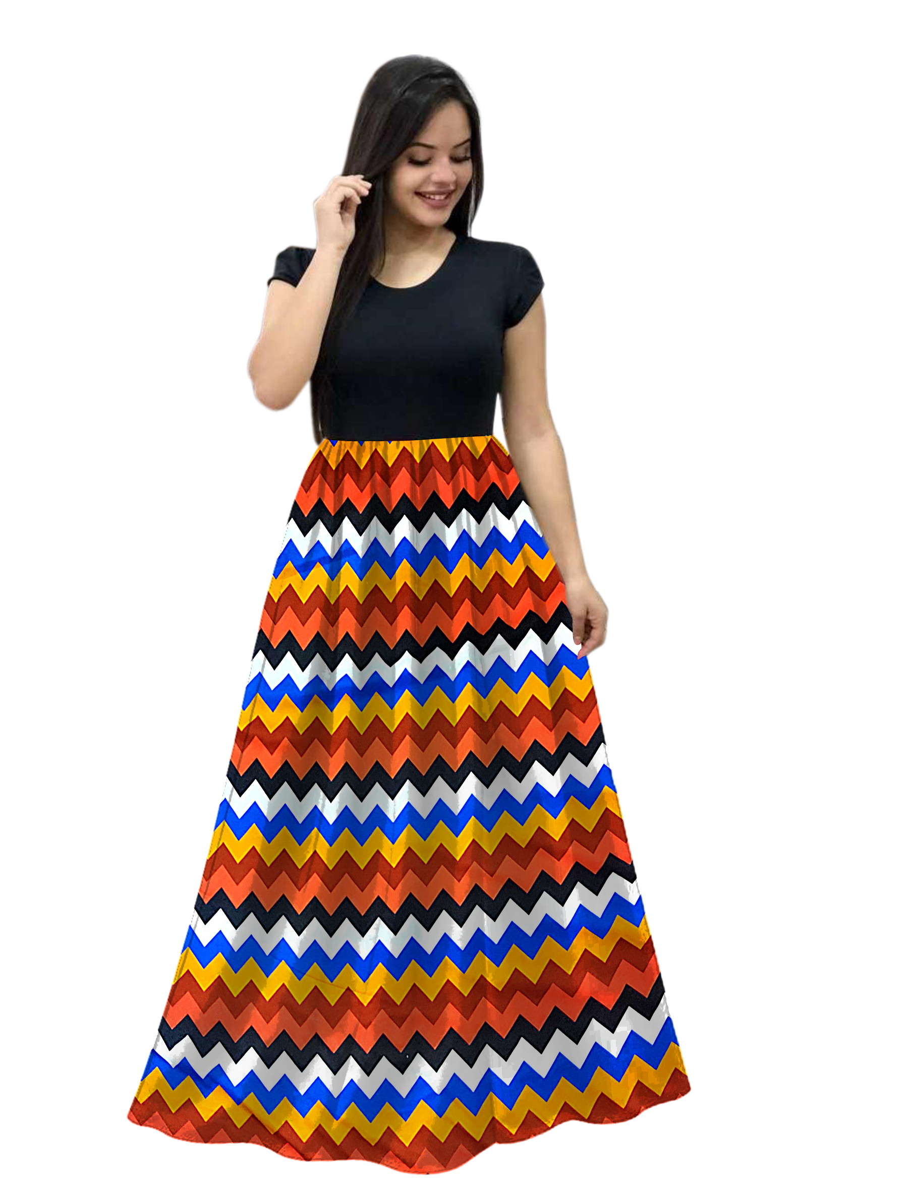 Florence Multicolor Crepe Abstract Print Flared Gown