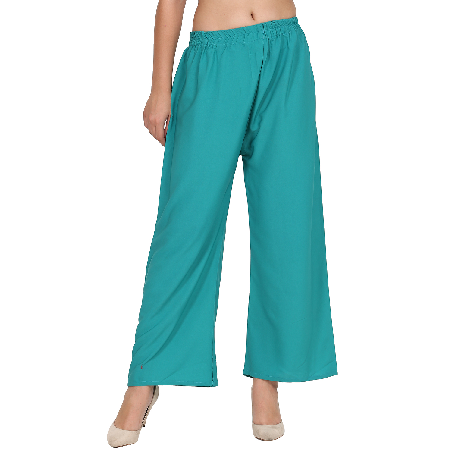 Florence Teal Crepe Plain Stitched Palazzo