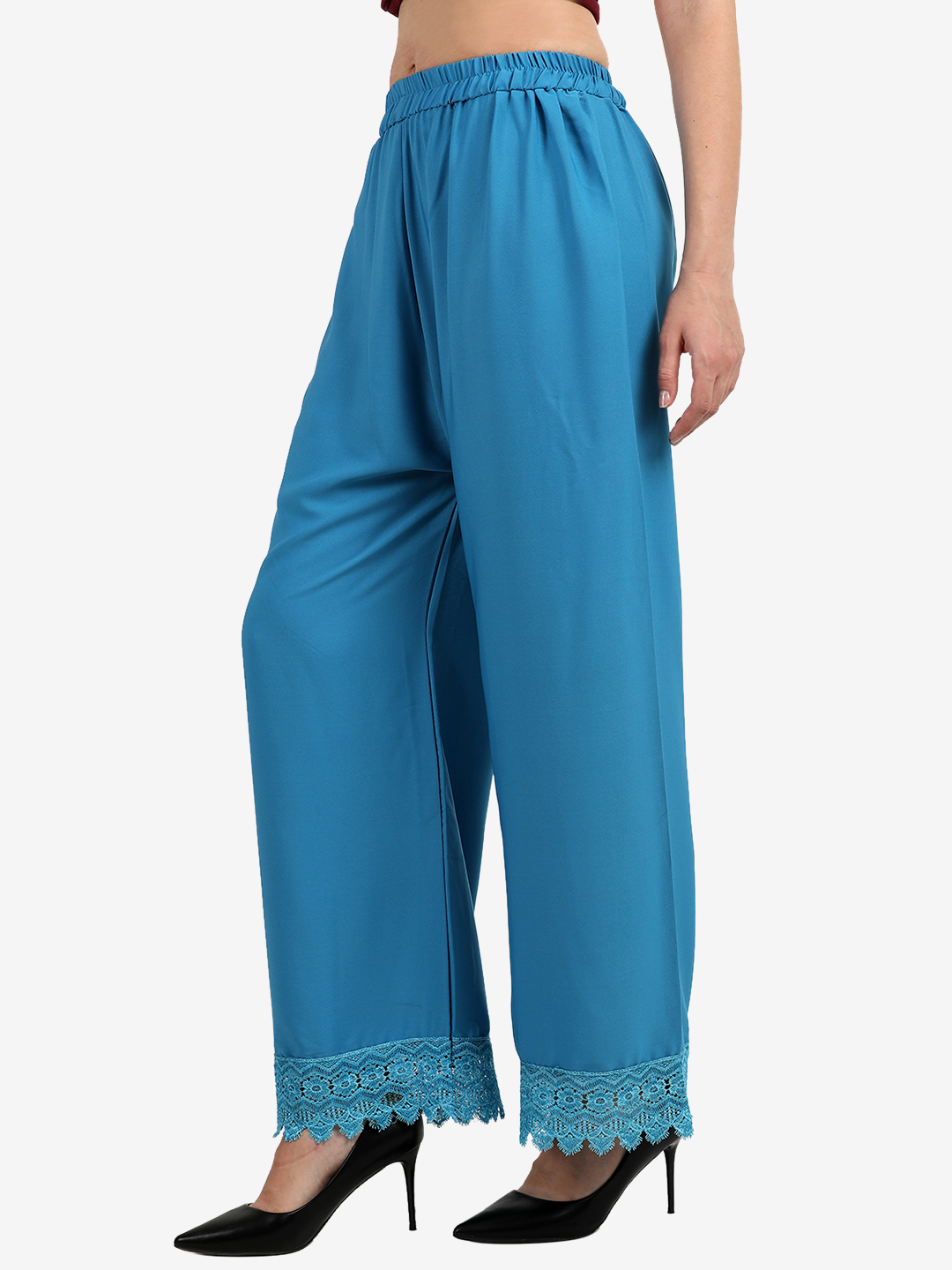 Florence Turquoise Blue Crepe Crochet Stitched Palazzo