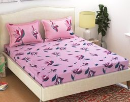 Komfort Creations 104 Tc Microfibre Printed Double Bed Sheets With Two Pillow Covers  (Kcss44)