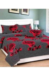 Komfort Creations 104 Tc Microfibre Printed Double Bed Sheets With Two Pillow Covers  (Kcss90)