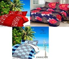 Set of 3-Komfort Creations 104 Tc Microfibre Printed Double Bed Sheets With 6 Pillow Covers