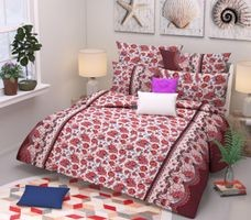 Komfort Creations 104 Tc Microfibre Printed Double Bed Sheets With Two Pillow Covers  (Kcss66)