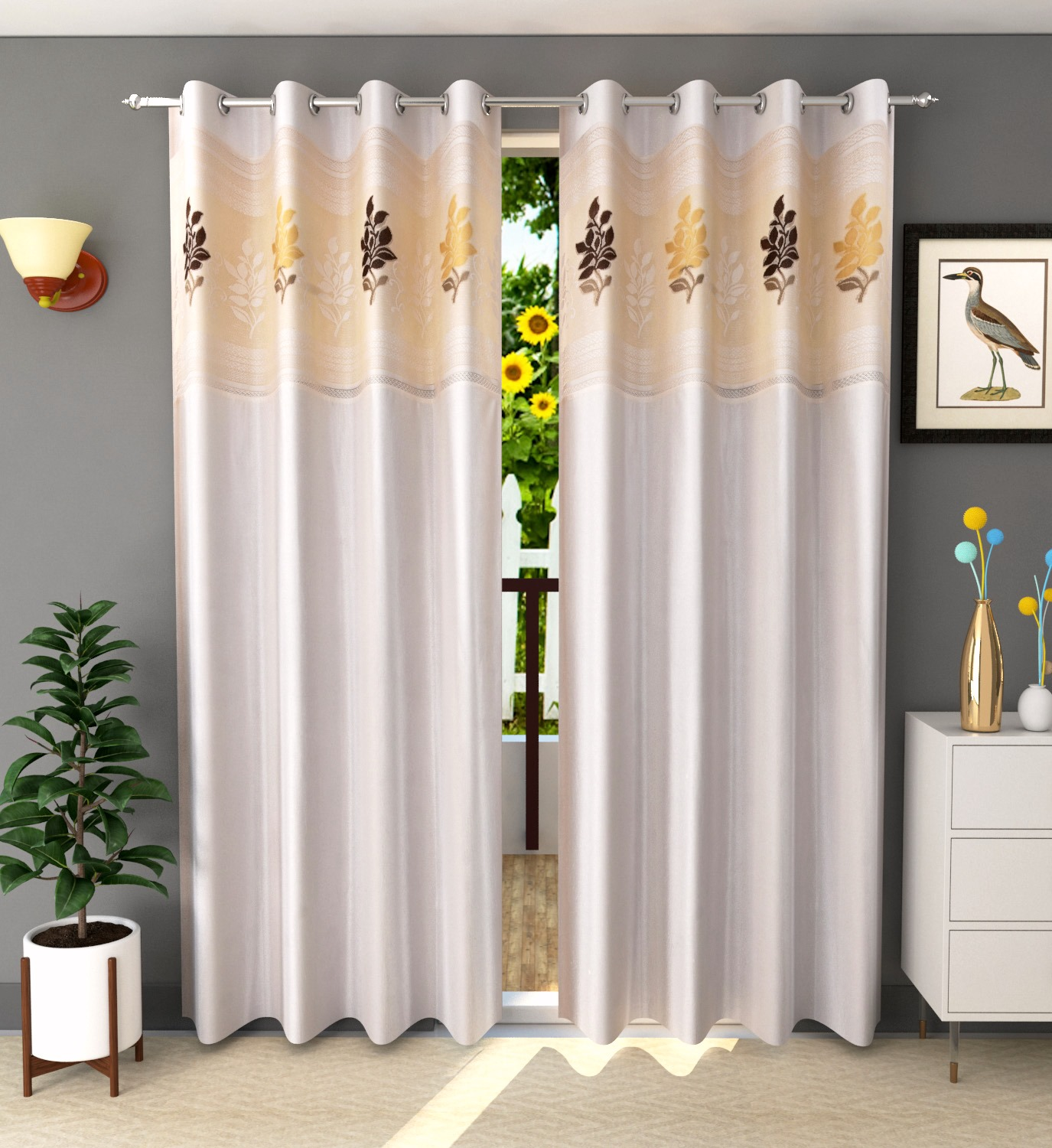 Homefab India 2 Piece Polyester  Curtain with Floral Net (Setof2HF835EuroNetCream)
