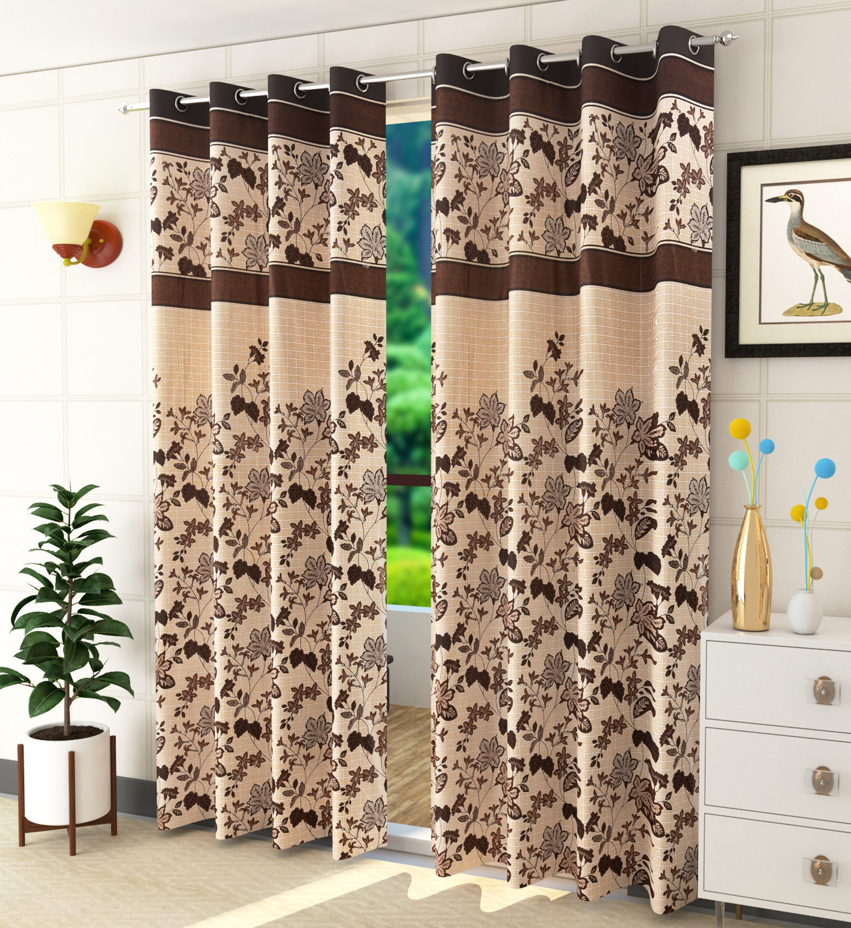 Homefab India 2 Piece Eyelet Polyester Floral  Curtains  (Setof2HF843PanelLeafBrown)
