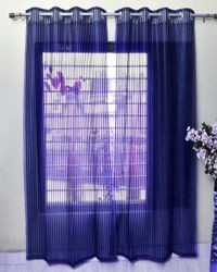 Homefab India 2 Piece Polyester  Sheer Curtain  (Setof2HF764TissueFlipFlopNavy)