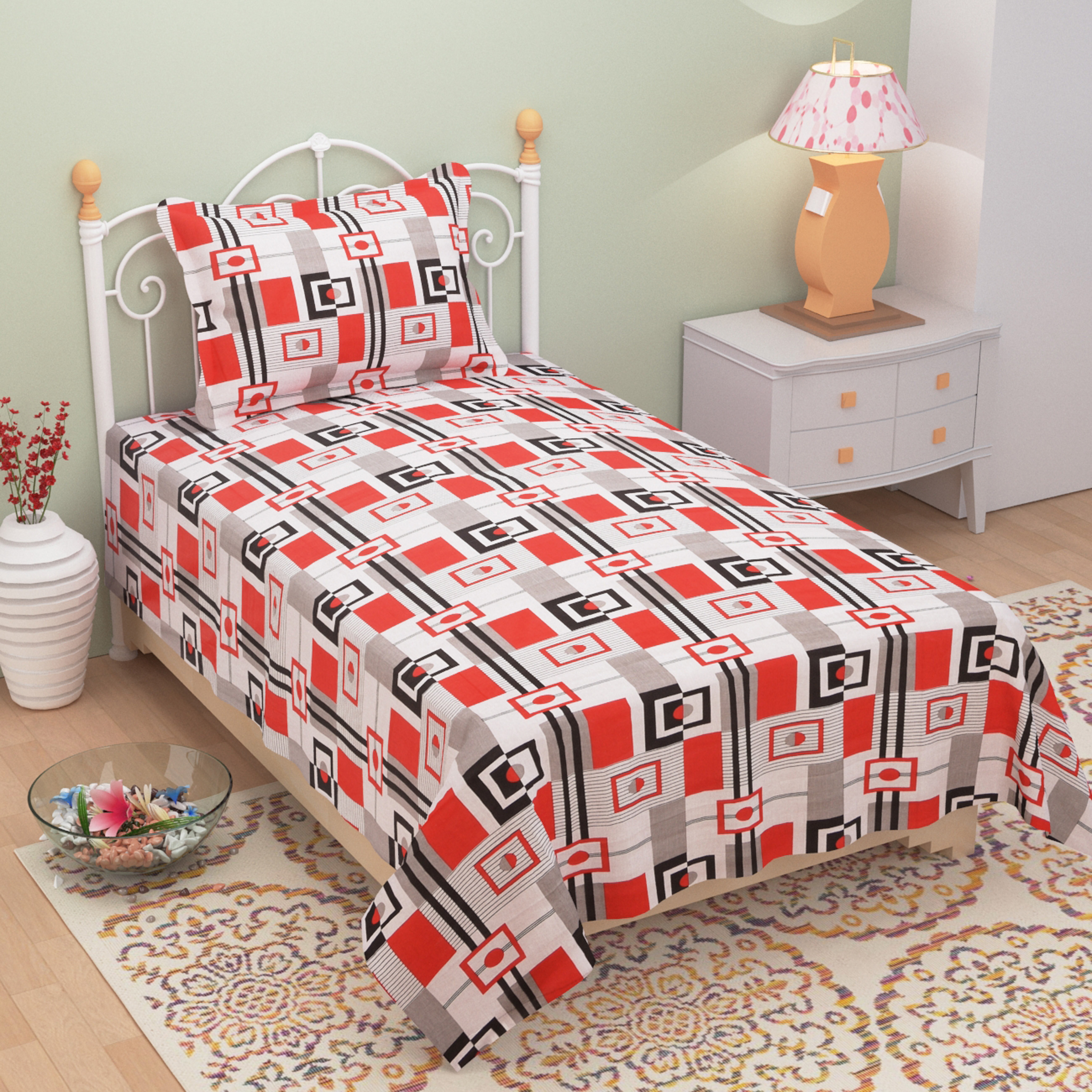 Homefab India 140 TC Cotton Single Bedsheet with 1 Pillow Cover - Geometrical Pattern (Single180)