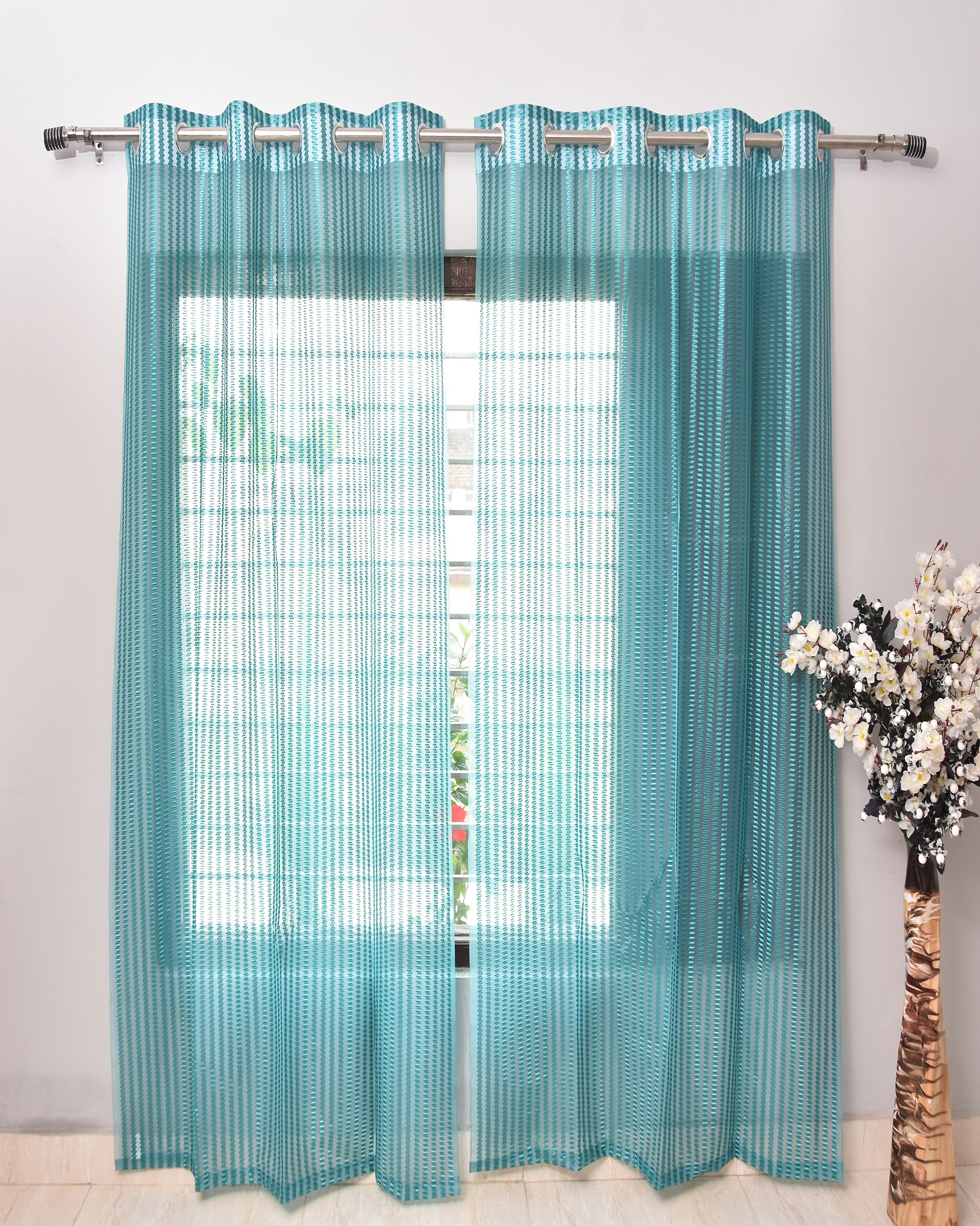 Homefab India 2 Piece Polyester  Sheer Curtain  (Setof2HF760TissueFlipFlopAqua)