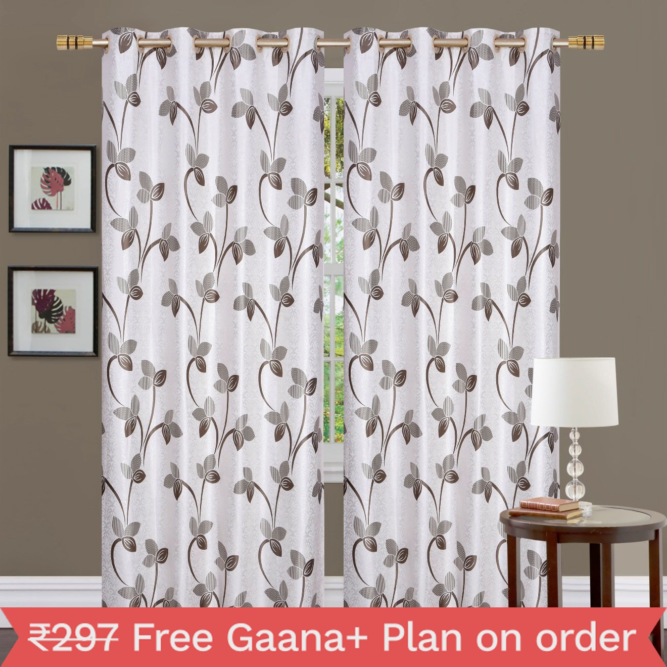 Homefab India 2 Piece Polyester Floral  Curtains  (Setof2HF767FlowrishBrown)