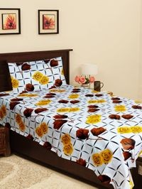 Homefab India 140 TC Cotton Single Bedsheet with 1 Pillow Cover - Floral Print (Single129)