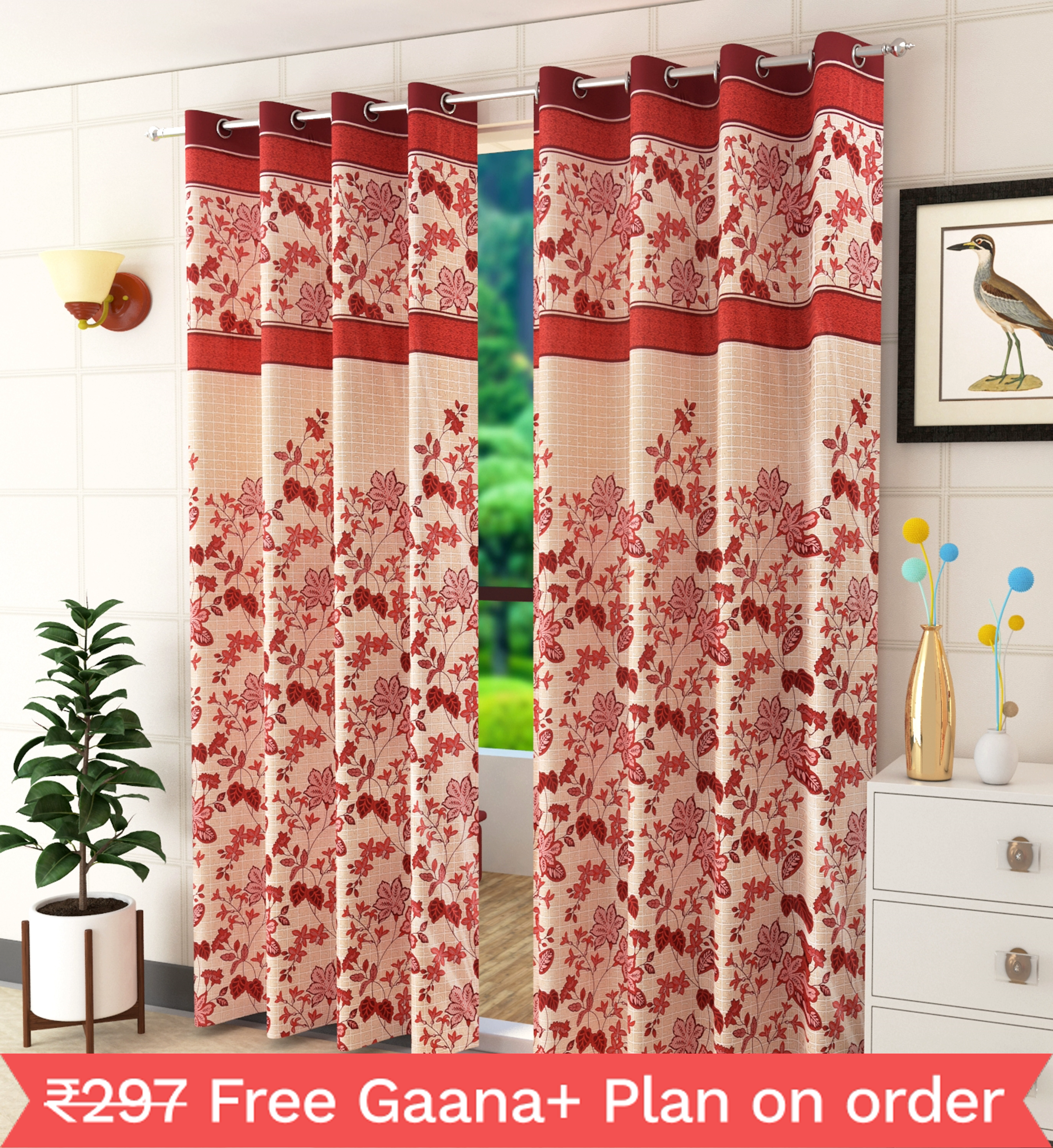 Homefab India 2 Piece Eyelet Polyester Floral  Curtains  (Setof2HF844PanelLeafMaroon)