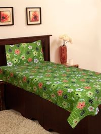 Homefab India 140 TC Cotton Single Bedsheet with 1 Pillow Cover - Floral Print (Single151)