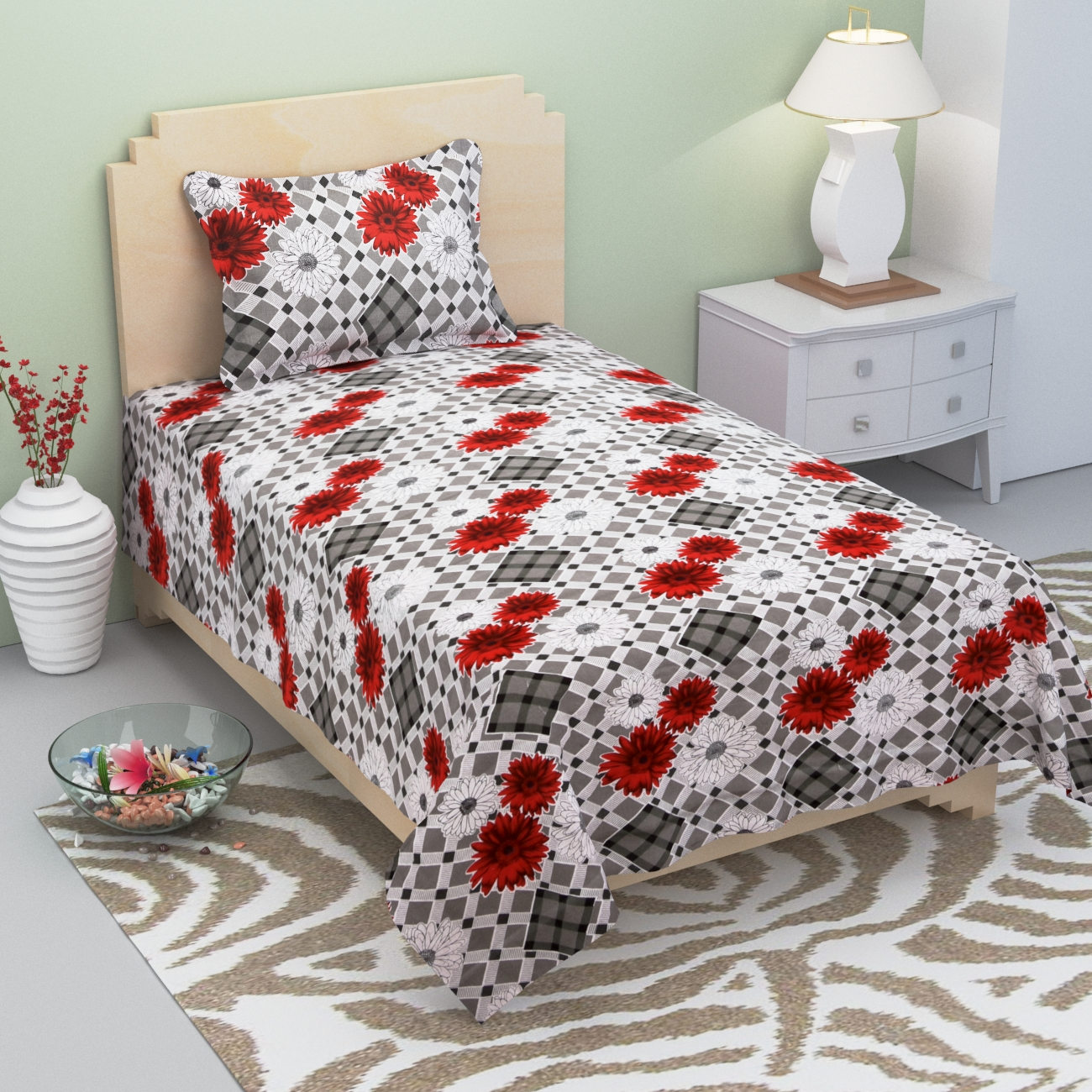 Homefab India 140 TC Cotton Single Bedsheet with 1 Pillow Cover - Floral Print (Single271)