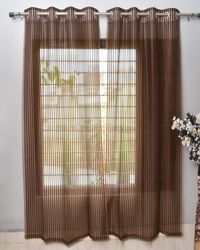 Homefab India 2 Piece Polyester  Sheer Curtain  (Setof2HF759TissueFlipFlopBrown)