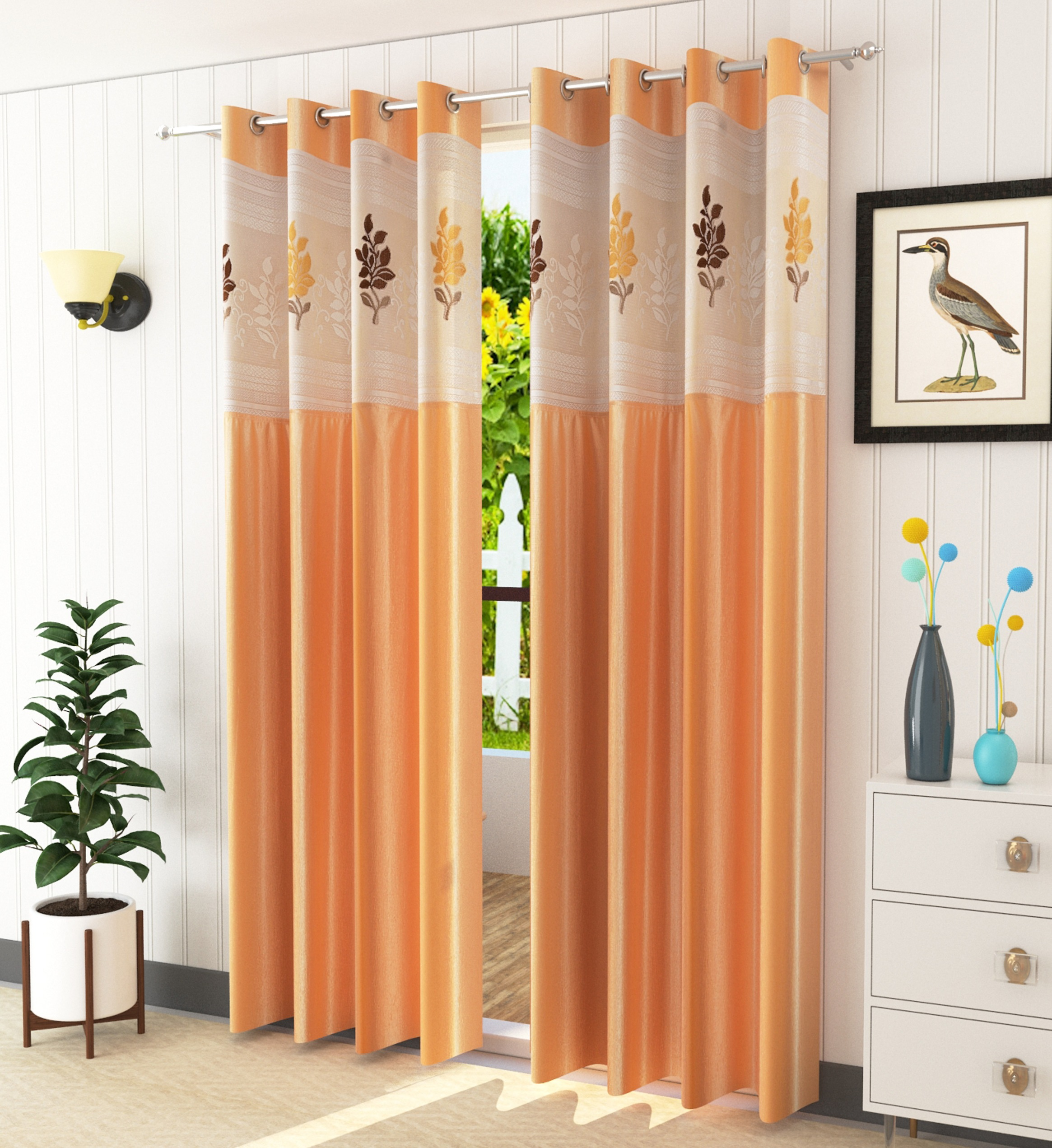 Homefab India 2 Piece Polyester  Curtain with Floral Net (Setof2HF787EuroNetBeige)
