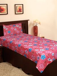 Homefab India 140 TC Cotton Single Bedsheet with 1 Pillow Cover - Floral Print (Single148)