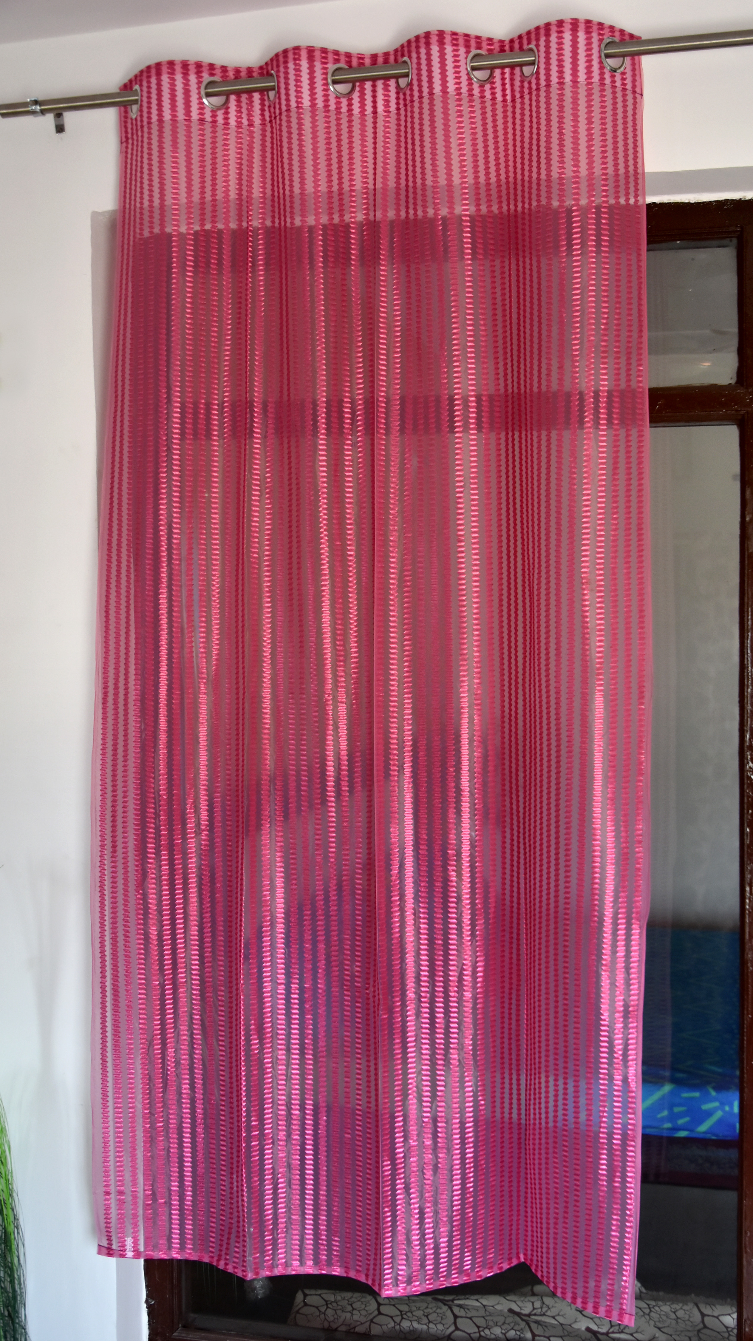 Homefab India 2 Piece Polyester  Sheer Curtain  (Setof2HF704TissueFlipFlopPink)