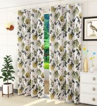 Homefab India 2 Piece Premium Polyester Eyelet  Floral Curtain  (Setof2HF840BlossomGreen)