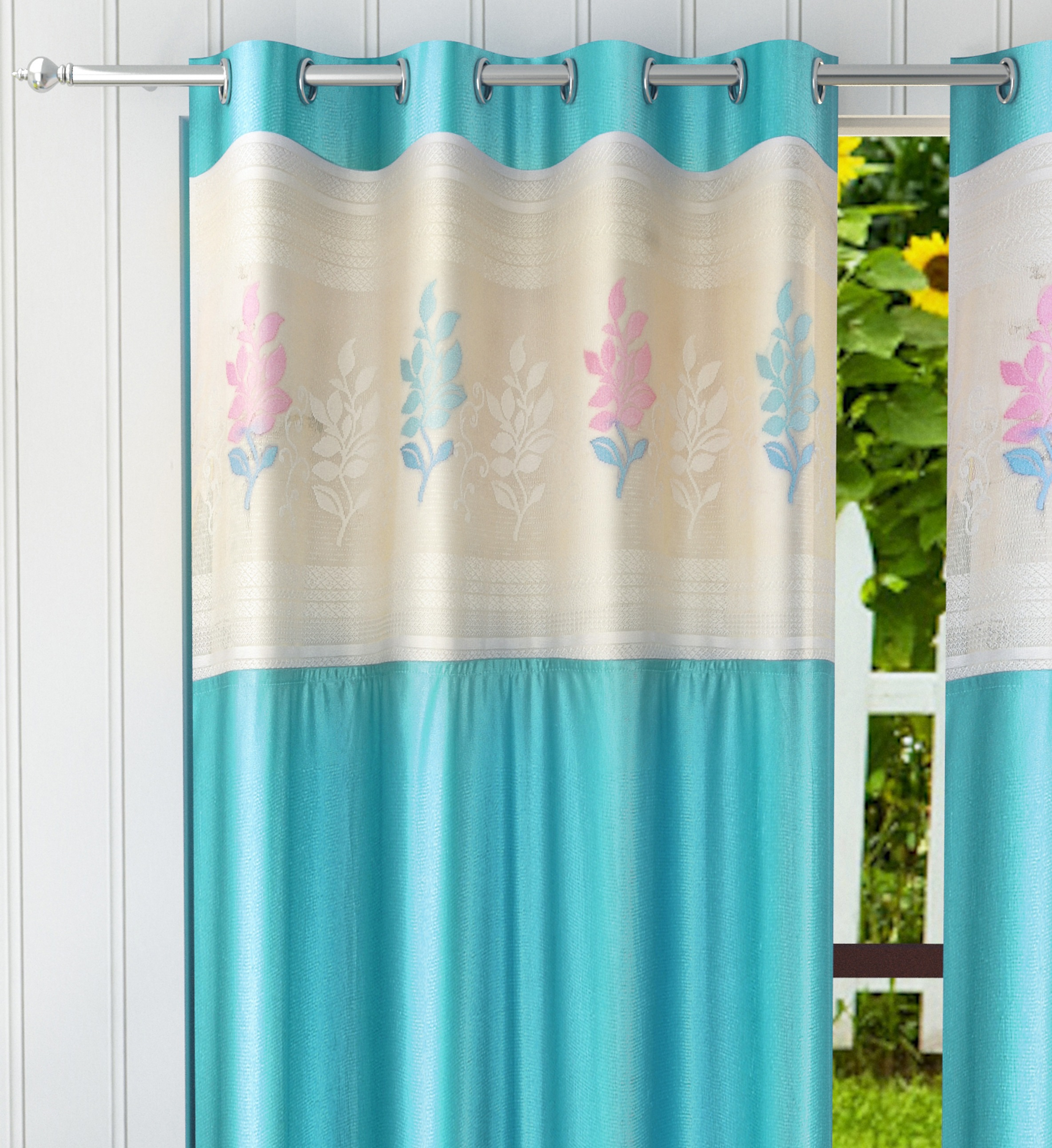 Homefab India 2 Piece Polyester  Curtain with Floral Net (Setof2HF786EuroNetAqua)