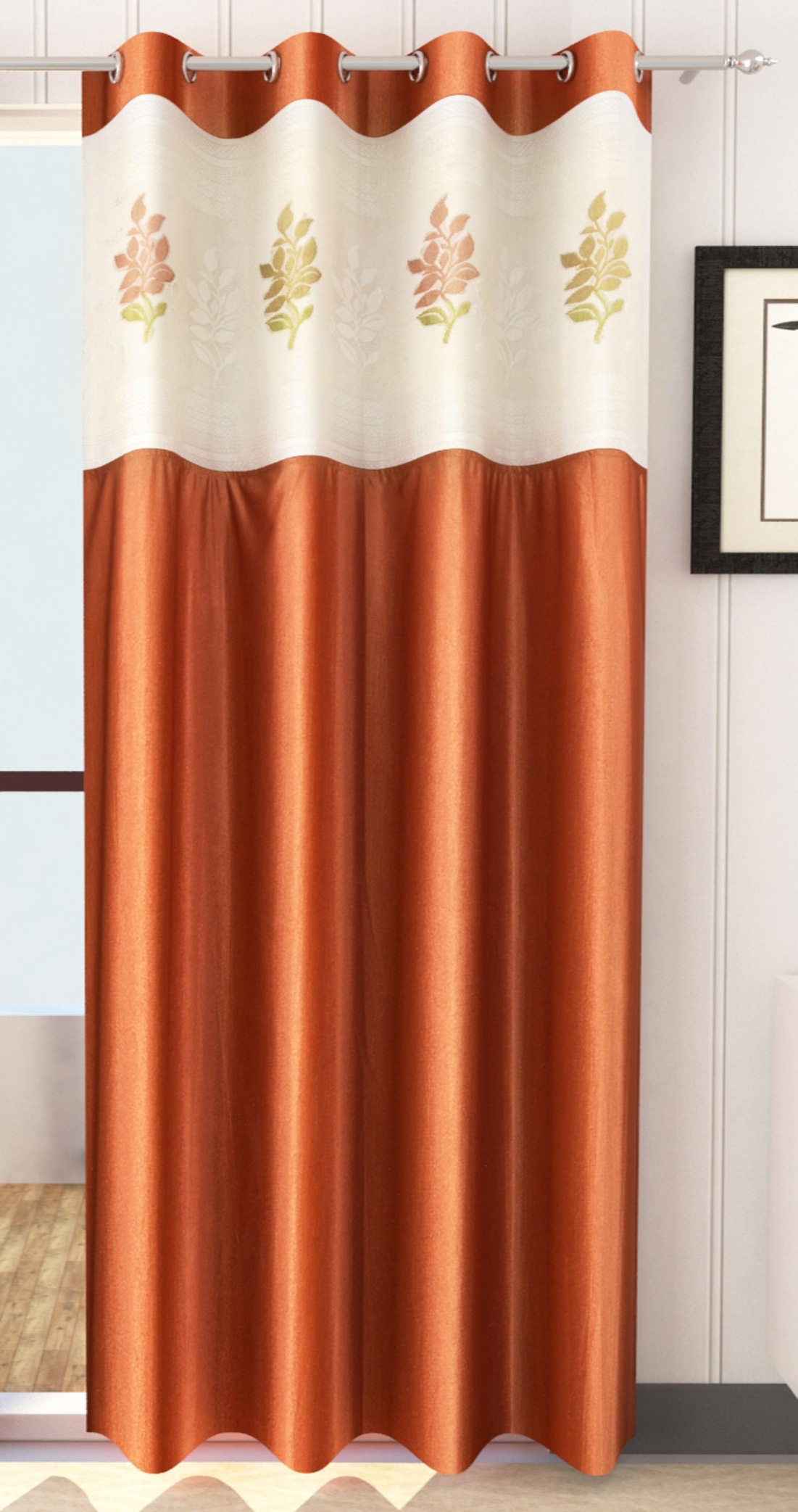 Homefab India 2 Piece Polyester  Curtain with Floral Net (Setof2HF822EuroNetRust)