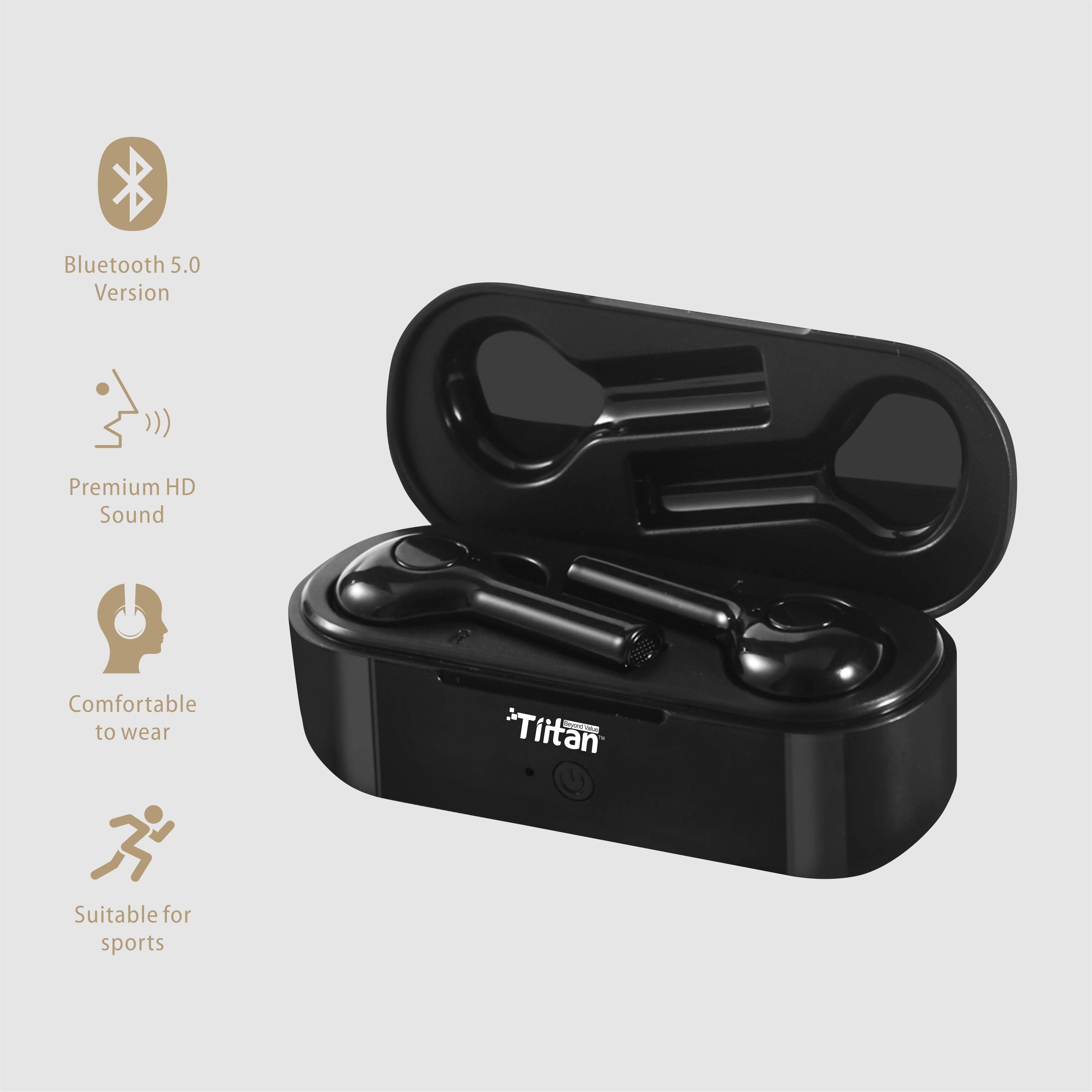 TIITAN True Wireless Earbuds (TWS), Bluetooth 5.0, Hi-Fi Sound, 7 Hours Music Time, 10-Meter Range Earbuds, 50mAh*2 Battery, Portable 500mAh Charging Box, Handsfree Wireless Earphones/TW-X6