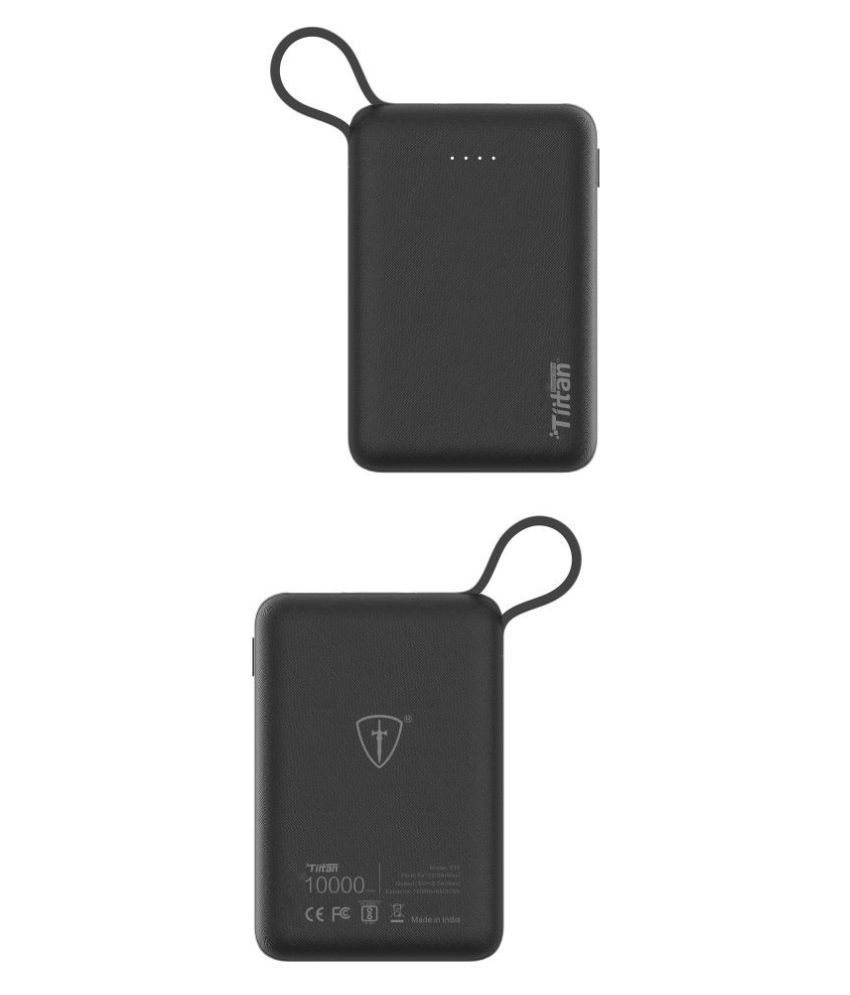 Tiitan 10000mAh Li-Poly with Apple Certified MFi Charging & Syncing Cable for iPhone Power Bank/P15 Handy - Black