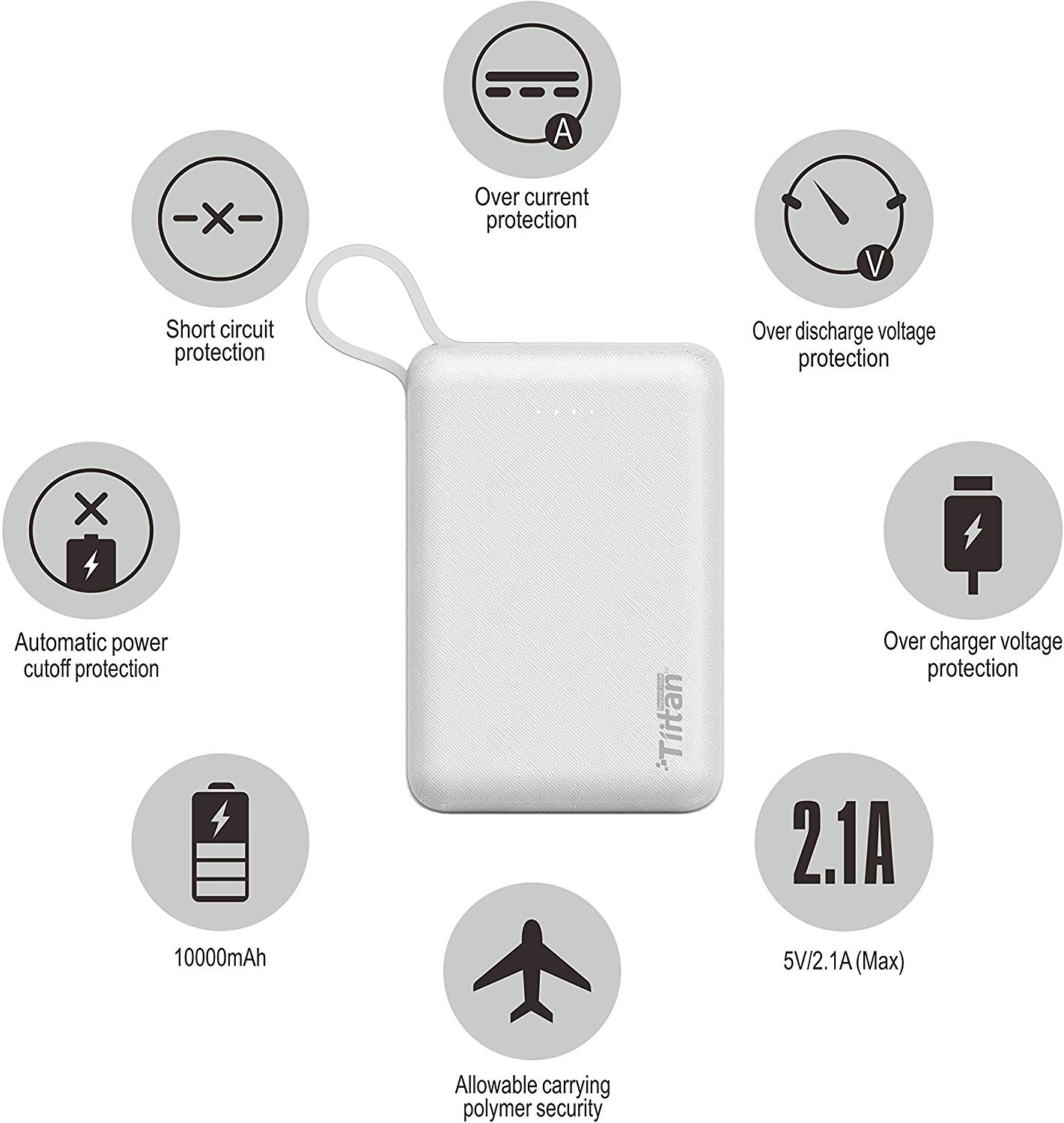 Tiitan 10000mAh Li-Poly with Apple Certified MFi Charging & Syncing Cable for iPhone Power Bank/P15 Handy - White