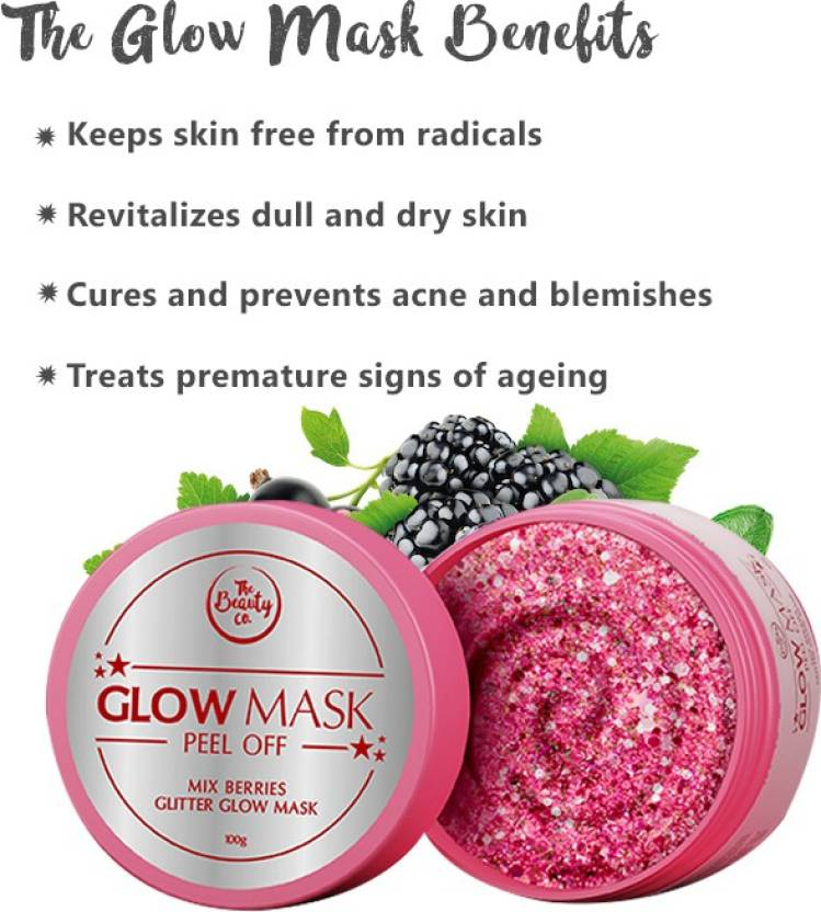 The Beauty Co. Mix Berries Glitter Glow Mask For Instant Glow On Face (100 G)