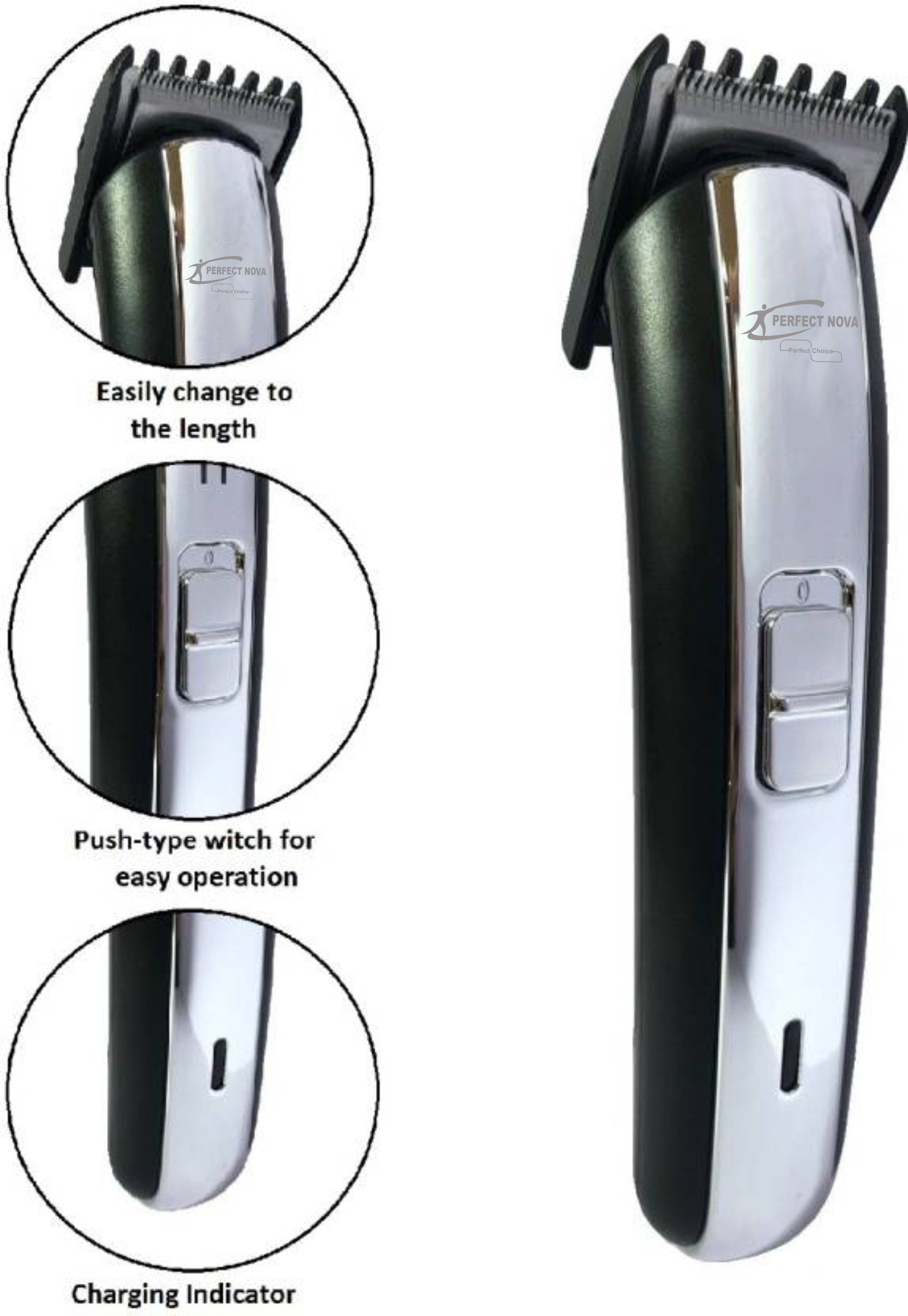 Perfect Nova (Device Of Man) PN-1102 Runtime: 45 Min Trimmer For Men (Silver)