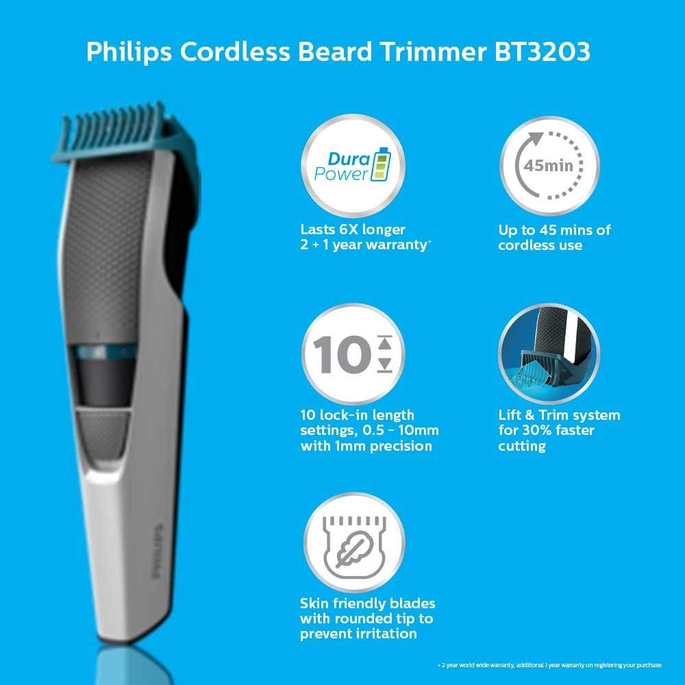 Philips BT3203/15 CORDLESS RECHARGEABLE Mustache & Beard Trimmer For Men ( White , Rechargeable Battery )