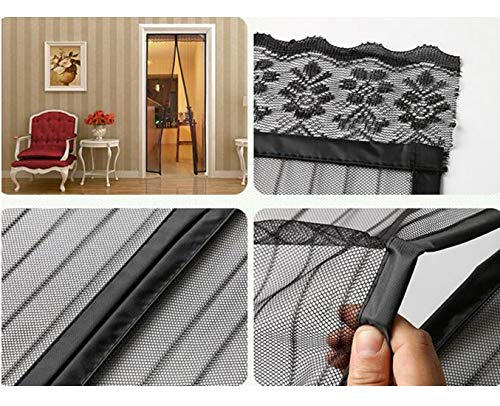 Royalkart Polyester Mosquito Screen Curtain Mesh with Pre-Attachched 34 Magnets, Self-Adhesive Hook Tape & 15 Push Pins for Main/Balcony/Kitchen Doors (100 x 215 cm, Black)