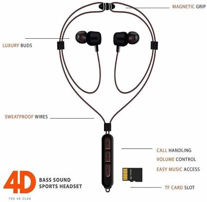 Lionis H28 Wireless Bluetooth Neckband with Mic and SD Card Slot Bluetooth Headset with Mic(In the Ear)