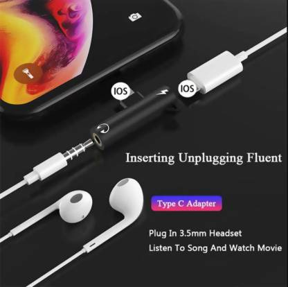 GUG 2 In 1 Lightning to 3.5mm Jack Aux Headphone Adapter Splitter for Iphone Red