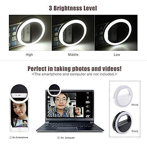 HBNS Selfie Ring Light with 36 LED Lights for Selfies in Night Darkness (Pink)