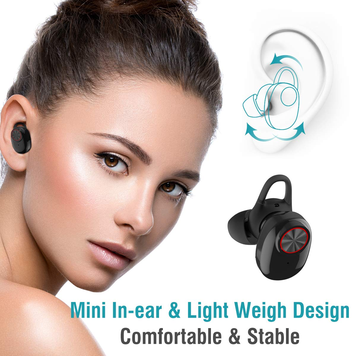 HBNS V5 Bluetooth Earphone With V4.2+EDR Stereo Sound V5 Wireless Earphone Built-in Microphone Hands-free Calling Bluetooth TWS Earbuds