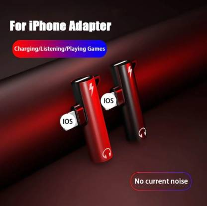 GUG 2 In 1 Lightning to 3.5mm Jack Aux Headphone Adapter Splitter for Iphone Black