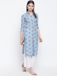 Stylum Staight printed kurta Front buttoned
