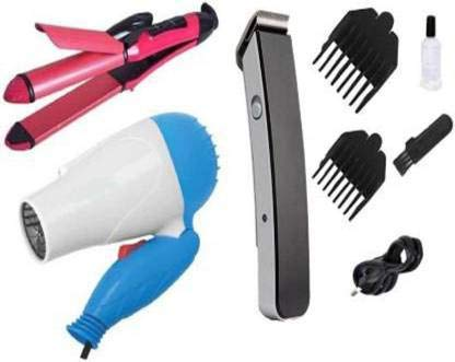 Nova Hair Dryer 1000 w & 2 in 1 straightner & curler or 216 Men's Trimmer Personal Care Appliance Combo (Hair Styler, Hair Dryer, Trimmer)