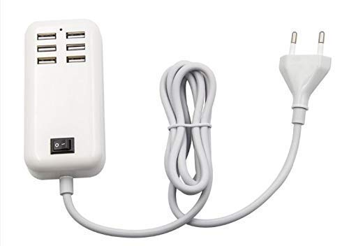 6 USB Port Hub 20W Desktop Wall Charger/AC Charging Adapter(Indian Plug) (White)