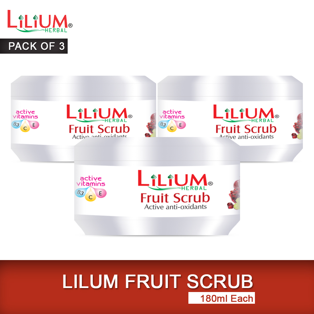 Lilium Fruit Scrub with Fruit Extracts and Olive Oils 180ml Pack of 3