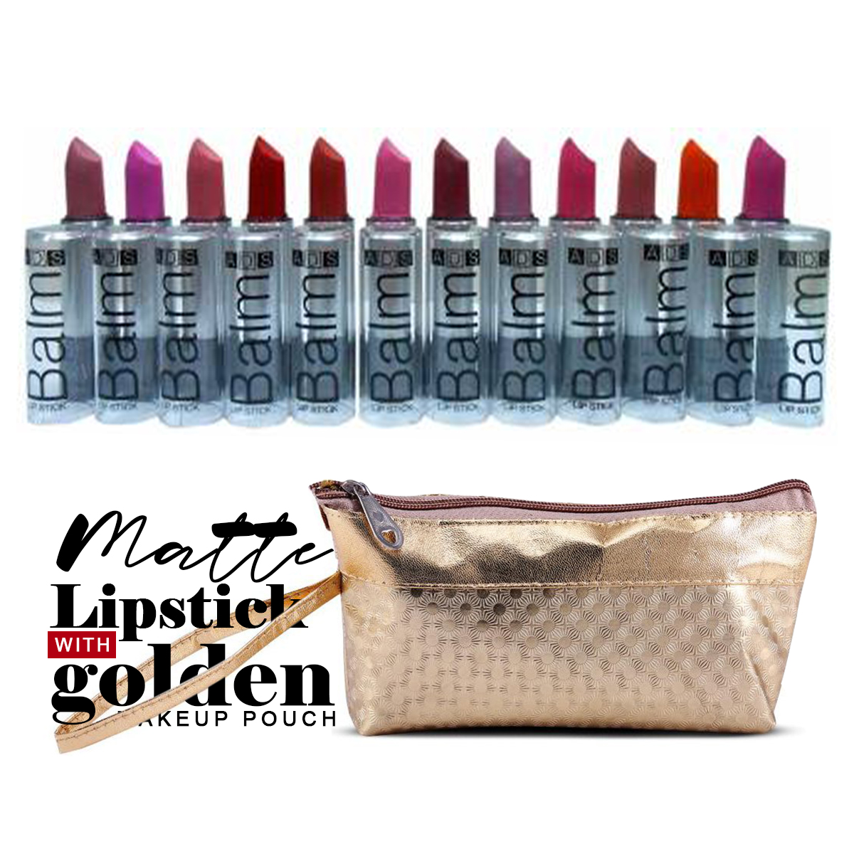 ADS Matte Lipstick Balm Mutlicolor Pack of 12 with Golden Makeup Pouch