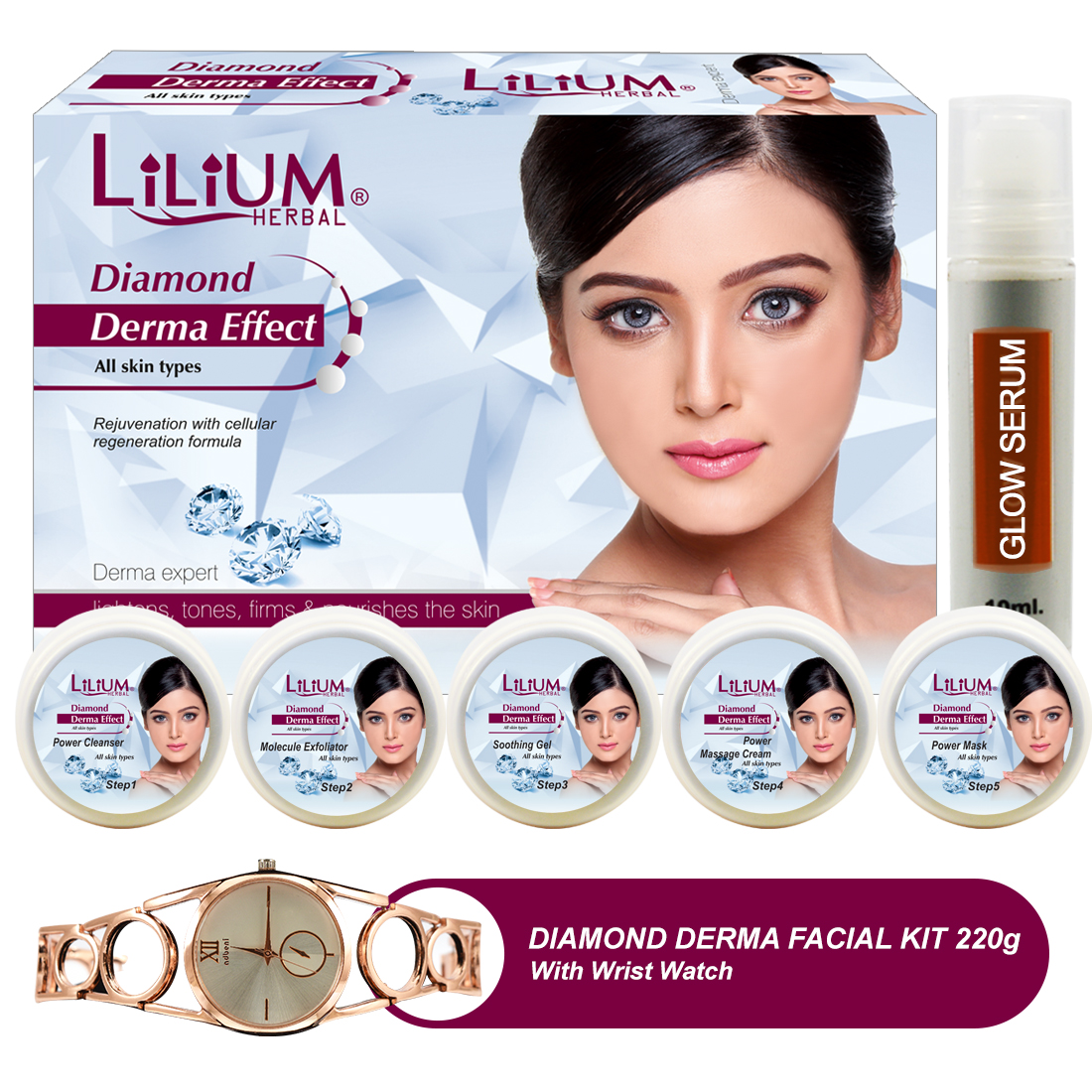 Lilium Diamond Derma Effect Facial Kit220gm With Wrist Watch Pack of 2